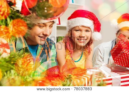 Teen boys and girls on Christmas party