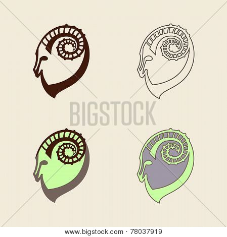 Stylized set of black and colorful silhouettes of goat's head. Ibex signs on white background. Vecto