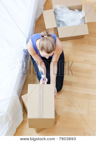 Beautiful Woman Writing On A Box