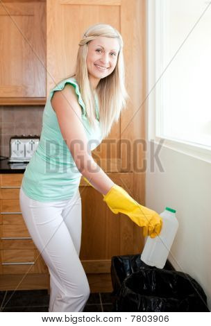 Beautiful Housewife Cleaning