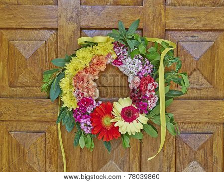 variety of colorful flowers wreath