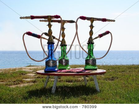 Hookahs On Small Table