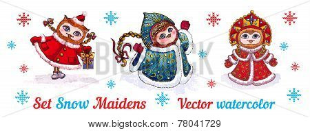 Set-owls Snow Maidens in fur coats. vector watercolor.