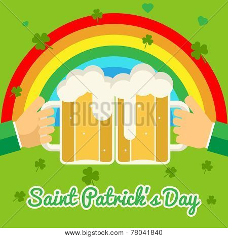 Saint Patrick's Day Celebration Success and Prosperity Symbol Hands Holds Mug of Beer with Foam Icon