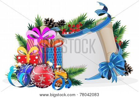 Paper Scroll With Blue Bow, Gifts And Christmas Balls