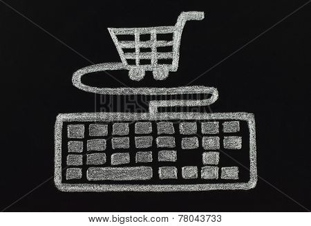 Chalk keyboard connected to cart