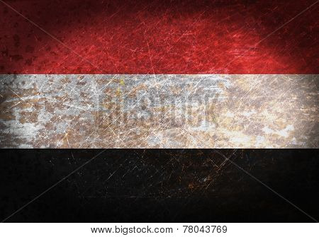 Old Rusty Metal Sign With A Flag