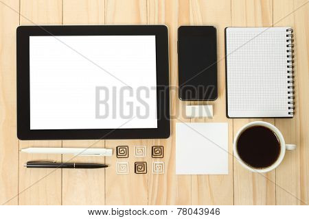 Tablet PC and smart phone with school office supplies