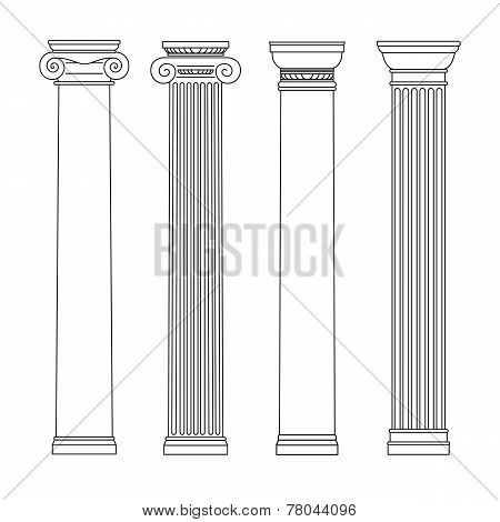 Isolated Vector Set Of Columns. Black And White Line Drawing.