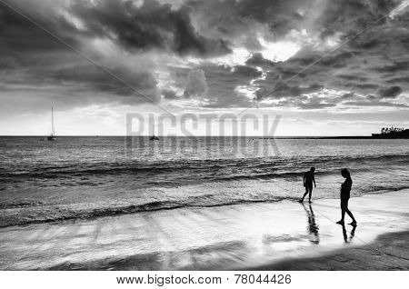 Couple on Playa de las Americas on Tenerife, Spain, Europe