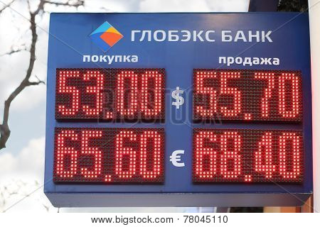 Perm, Russia - Dec 9, 2014: Display Globex Bank With Digits Exchange Rates - Dollar And Euro. Due To