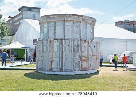 Perm, Russia - Jun 11, 2013: White Round Building Of The Old Doors And Window Frames