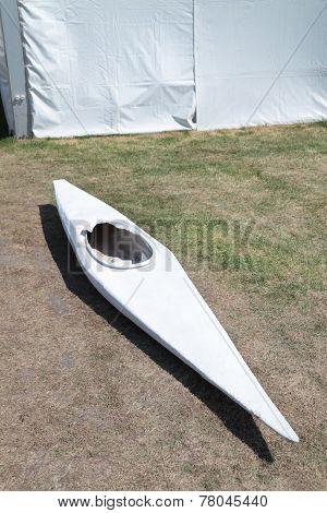 White Narrow Boat Canoe