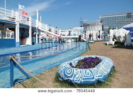 Perm, Russia - Jun 11, 2013: Decorative Water Channel And Deck In Festival Town White Nights