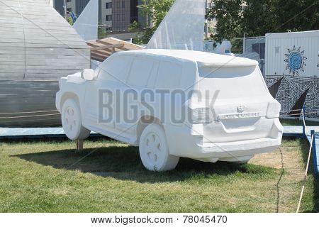Perm, Russia - Jun 11, 2013: Fictional Sport Utility Vehicle Foam In Festival Town