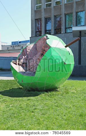 Perm, Russia - Jun 11, 2013: Apple Sculpture. It Was Created From Green Tiles And Old Red Brick. Bit