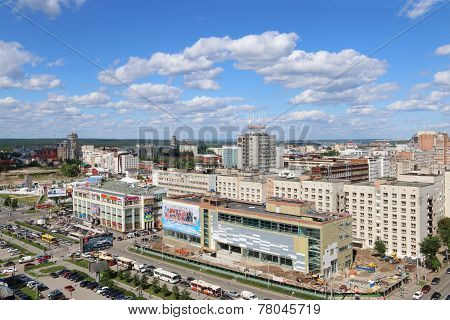 Perm, Russia - Jun 25, 2014: Popova Street And Shopping Center Under Construction. Iceberg Crystal M