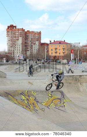 Perm, Russia - Apr,25, 2014: Cyclists In Extreme Park Was Opened October 10, 2009 And Is Analogue Of
