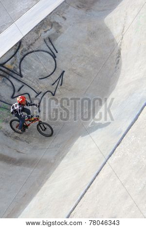 Perm, Russia - Apr,25, 2014: Biker On Bicycle In Extreme Park Was Opened October 10, 2009 And Is Ana