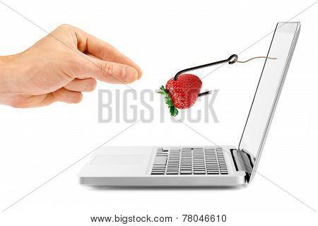 Internet Fraud Concept. Hook With Bait Through Laptop Screen