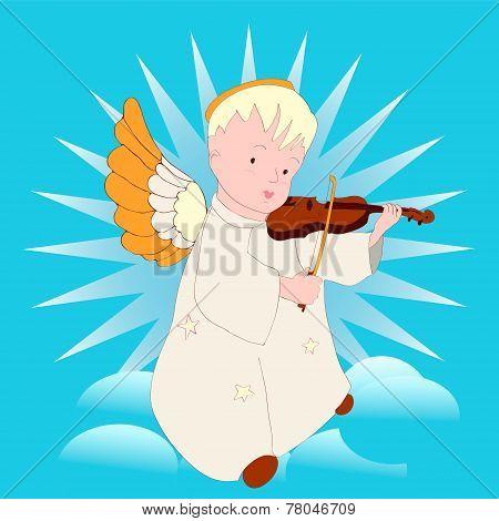 Cartoon Angel Playing The Violin