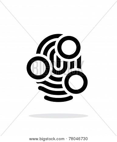 Fingerprint whorl type scan icon on white background.