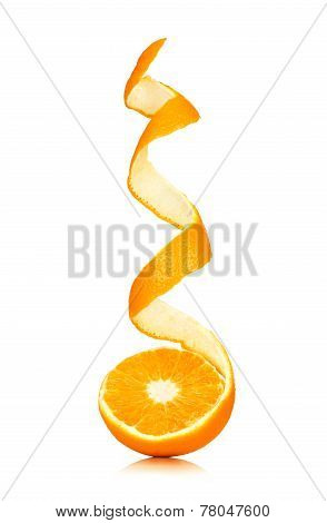 Juicy Orange With Peeled Spiral Skin Isolated On White