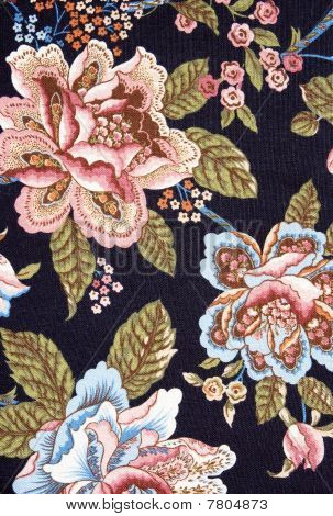 Pattern Of An Ornate Colorful Floral Tapestry On Black