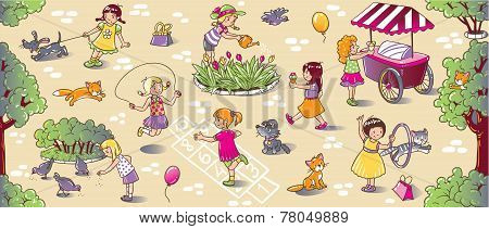 Big Seamless Pattern With Playing Girls