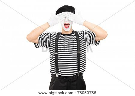 Mime artist covering his eyes isolated on white background