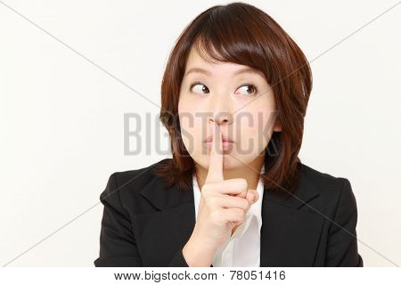 woman whith silence gestures