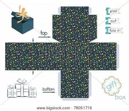 Printable Gift Box With Confetti Pattern