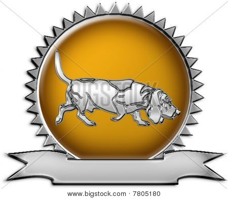 Basset Hound Chrome Emblem Illustration