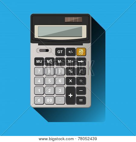 Calculator On Blue Background