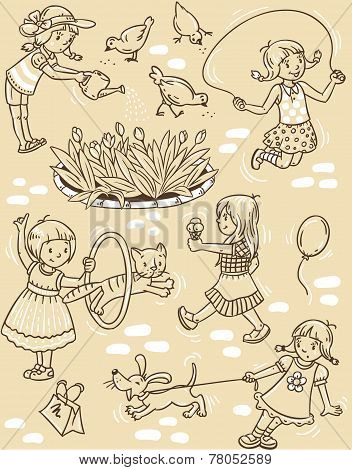 Seamless Pattern With Playing Girls