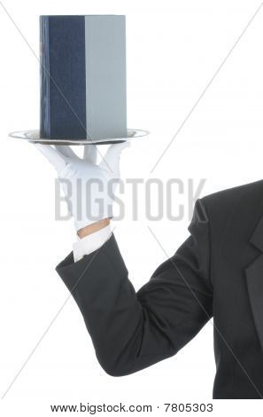 Butler With Book On Tray
