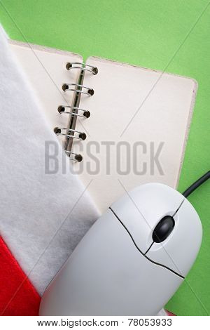 Santa Sock With Blank Notebook And Computer Mouse