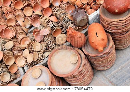Piggy Banks and other potteries made of clay for sale in Kathmandu, Nepal.