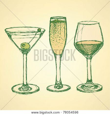 Sketch Martini, Champagne And Wine Glass