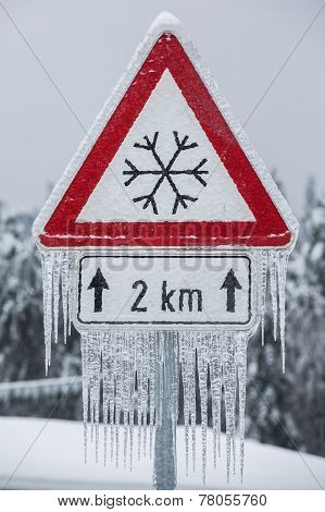 Traffic Sign For Icy Road With Icicles