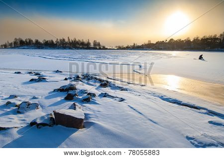 Midday Sunset In Polar Landscape