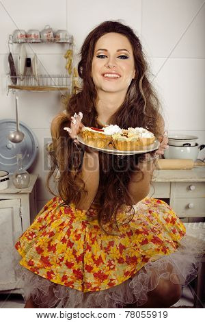 crazy housewife on kitchen smiling eating