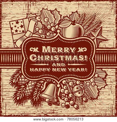 Merry Christmas Retro Card Brown. Fully editable vector.