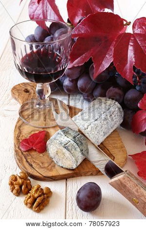 French Blue Cheese, Walnuts, Grapes And A Wine