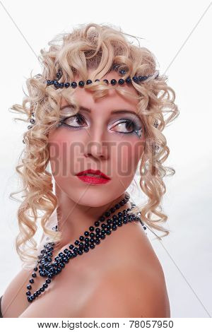 Glamorous woman with retro hairstyle