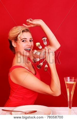 Happy Woman Posing with a Fan of Fork
