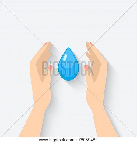water drop in hands symbol