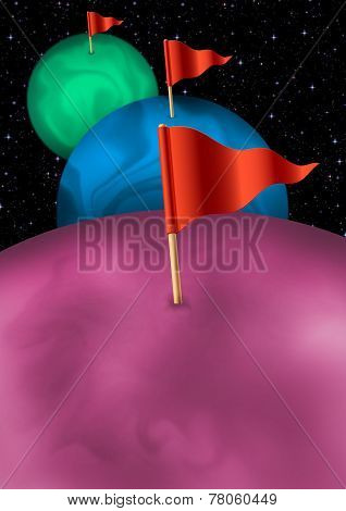 Coloured planets with pennants