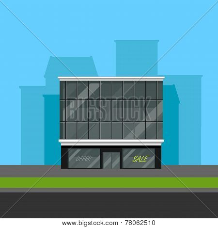 vector illustration of business center or shopping mall in flat polygonal style