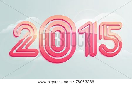 Stylish text 2015 on cloudy background for Happy New Year celebrations, can be used as poster and banner design.